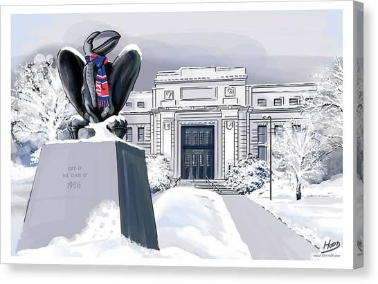 University Of Kansas Canvas Print - Snowy 'hawk by Matt Hood