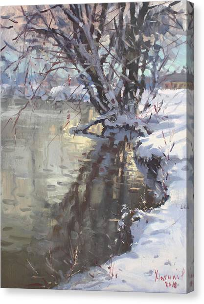 Hyde Park Canvas Print - Snowy Hyde Park by Ylli Haruni