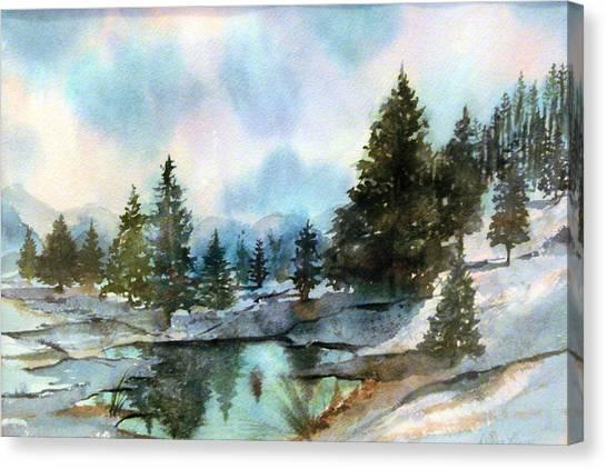 Snowy Lake Reflections Canvas Print