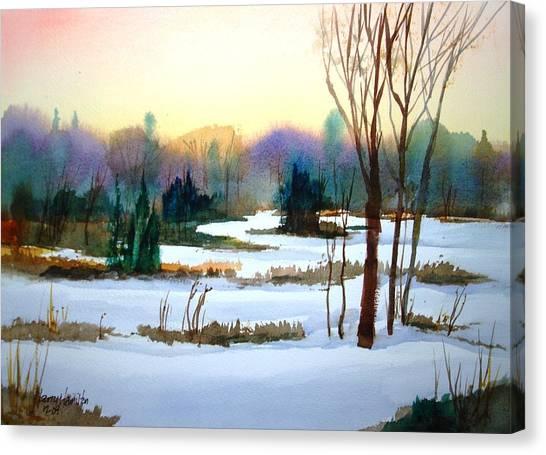 Snowy Landscape Scene Canvas Print by Larry Hamilton