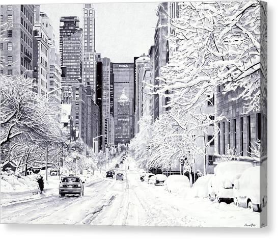 Ballpoint Pens Canvas Print - Snowy New York - Ballpoint Pen Art by Andrey Poletaev