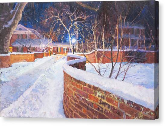 University Of Virginia Canvas Print - Snowy Night At The Serpentine Wall by Edward Thomas