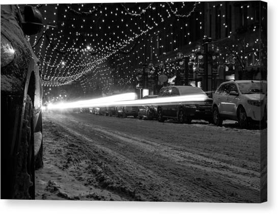 Snowy Night Light Trails Canvas Print