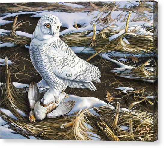 Snowy Owl And Hungarian Partridge Canvas Print by Larry Seiler
