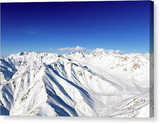 Hindu Kush Canvas Print - Snowy Peaks And Blue Skies by SR Green