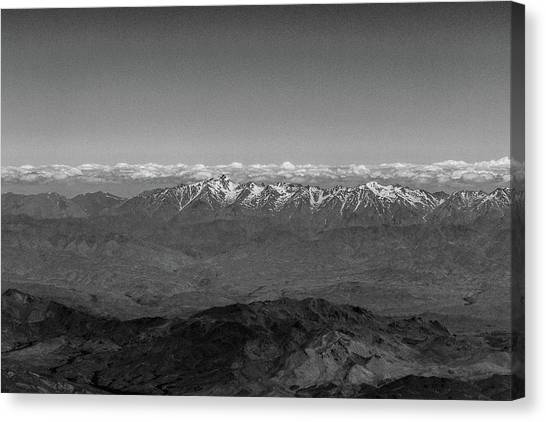 Hindu Kush Canvas Print - Snowy Peaks And Cloud Layer by SR Green