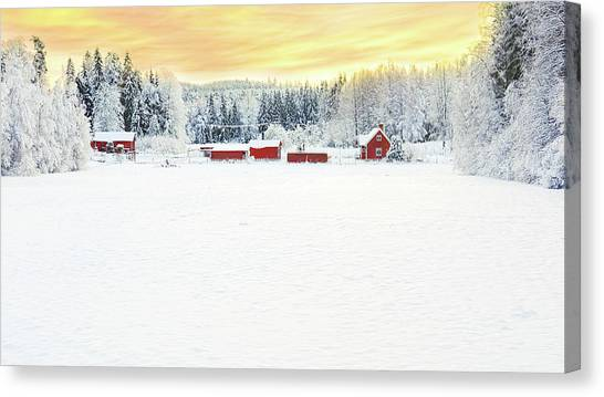 Snowy Ranch At Sunset Canvas Print