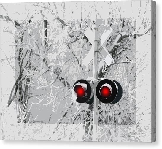 Snowy Red Light At Rr Crossing Canvas Print