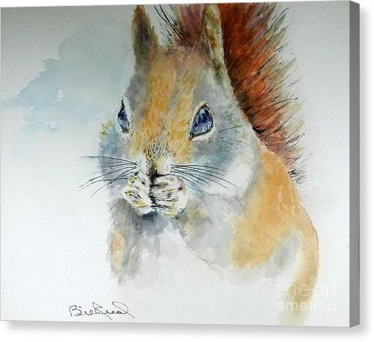 Snowy Red Squirrel Canvas Print