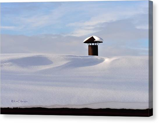 Snowy Roof With Stove Pipe Canvas Print
