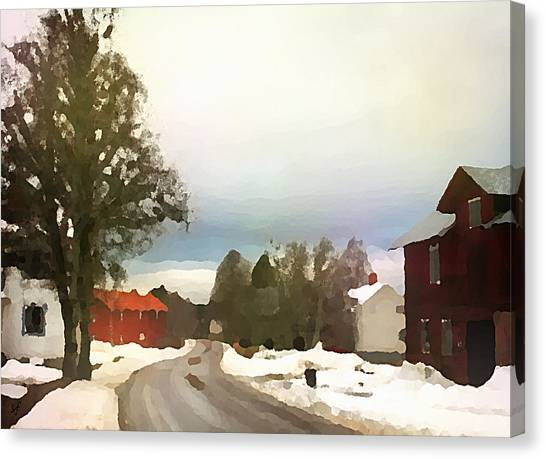 Snowy Street With Red House Canvas Print