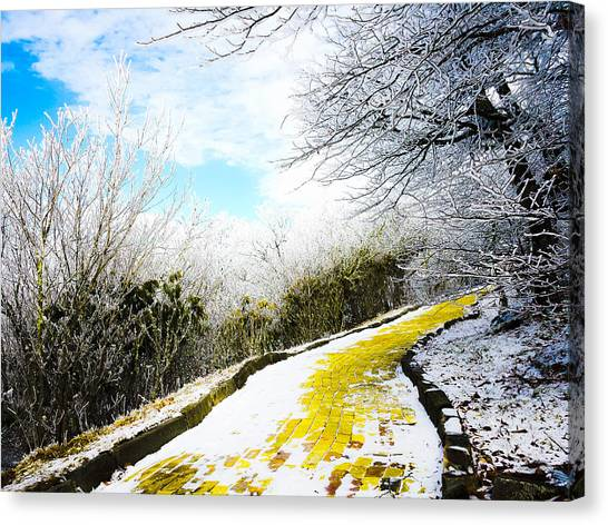 Wizards Canvas Print - Snowy Yellow Brick Road by Denesia Christine Huttula