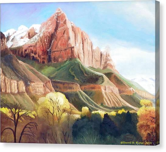 Snowy Zion's Watchman Canvas Print
