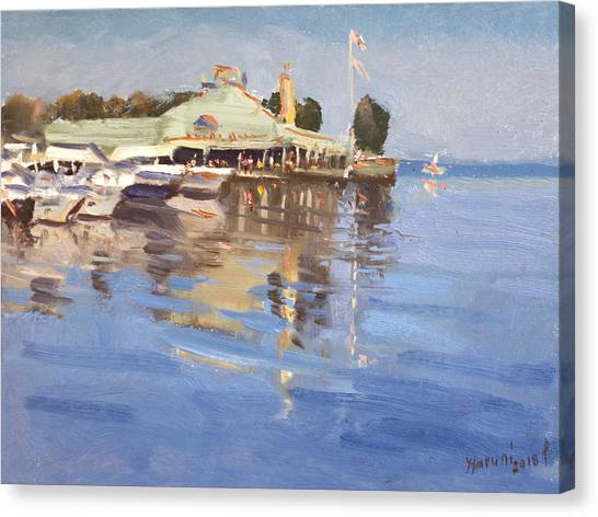 Pizza Canvas Print - Snug Harbour At Port Credit by Ylli Haruni
