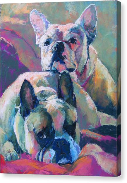 English Bull Dogs Canvas Print - Snuggle Buds, English Bulldogs by Sandy Lindblad