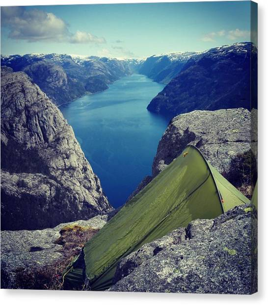 Preikestolen Canvas Print - So #happy To Announce That I Am Falling by Eskild Arntsen