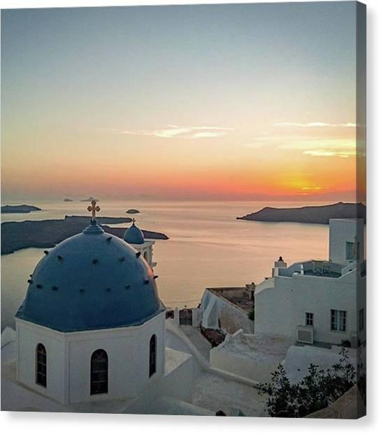 White House Canvas Print - Santorini Sunset by Ren Harris