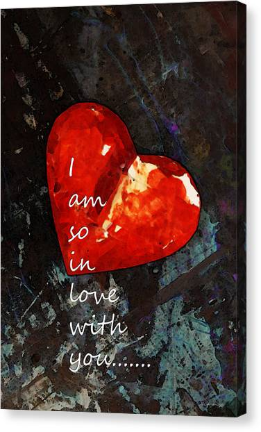 Engagement Canvas Print - So In Love With You - Romantic Red Heart Painting by Sharon Cummings