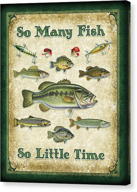 Smallmouth Bass Canvas Print - So Many Fish Sign by JQ Licensing