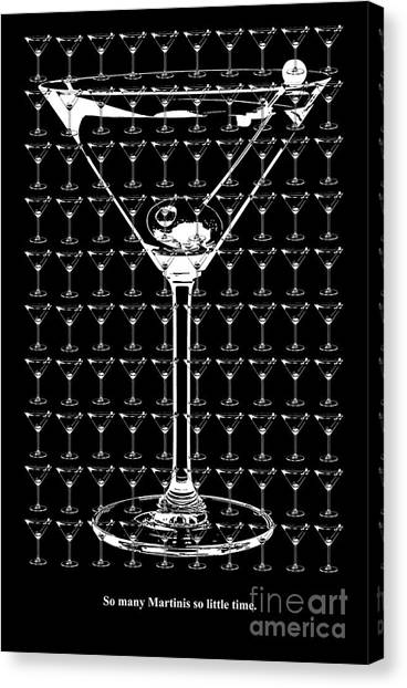 Gin Canvas Print - So Many Martinis So Little Time by Jon Neidert