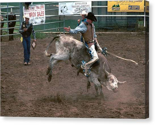 Bull Riding Canvas Print - So Much Bull by Jerry McElroy
