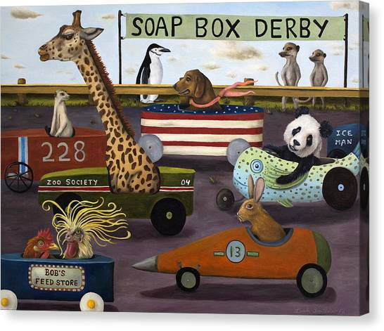 Meerkats Canvas Print - Soap Box Derby by Leah Saulnier The Painting Maniac