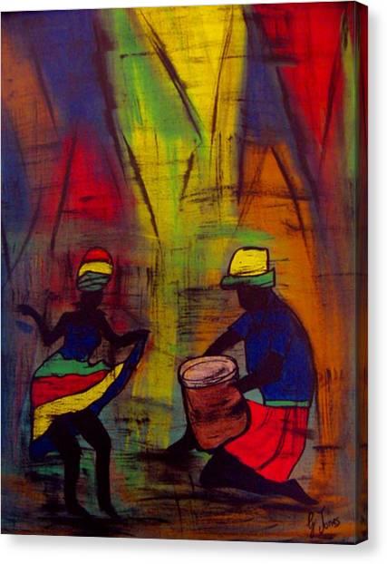 Soca Dancing Canvas Print by Glenda  Jones