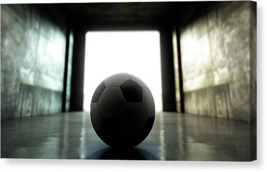 Soccer Canvas Print - Soccer Ball Sports Stadium Tunnel by Allan Swart