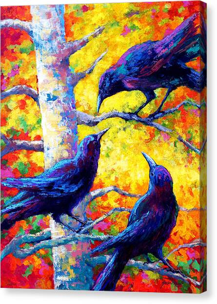 Ravens Canvas Print - Social Cub I by Marion Rose