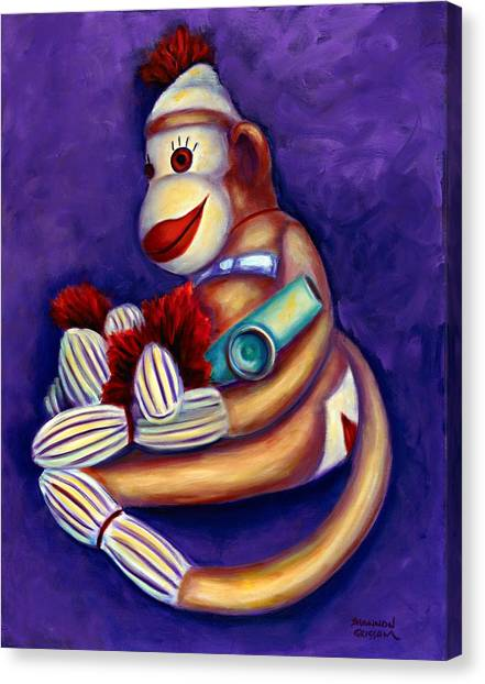 Sock Monkey With Kazoo Canvas Print