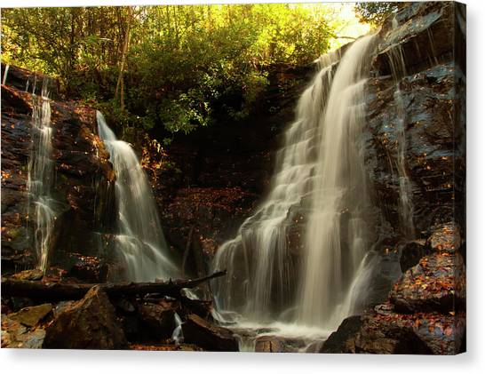 Canvas Print featuring the photograph Soco Waterfalls From Spillway by Chris Flees