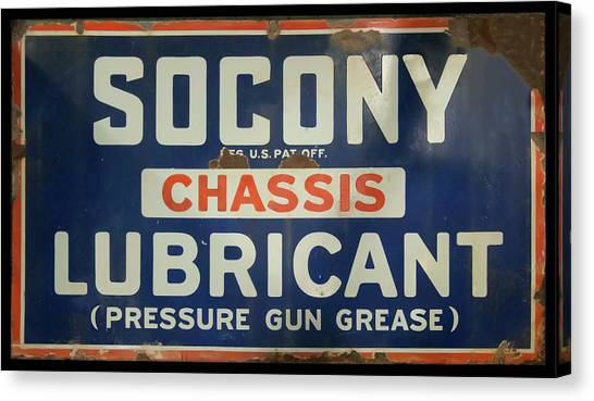 Canvas Print featuring the photograph Socony Sign by Chris Flees