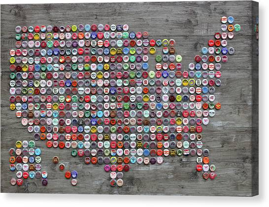 Pepsi Canvas Print - Soda Pop Bottle Cap Map Of The United States Of America by Design Turnpike