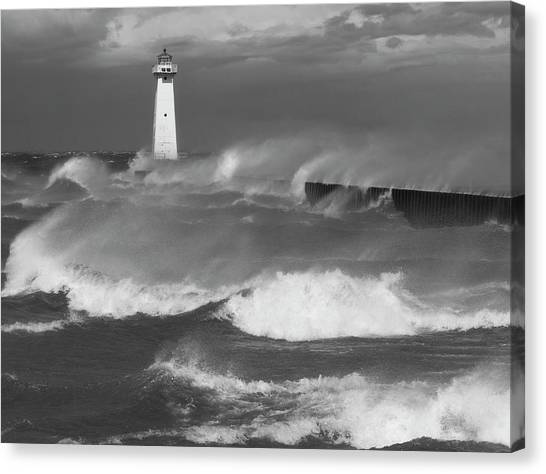 Sodus Point Light During The Storm Canvas Print