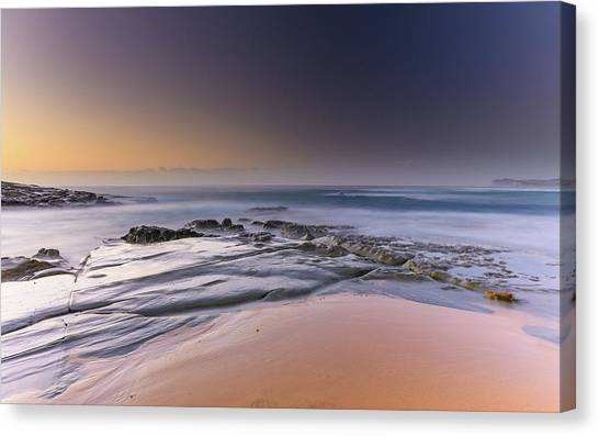 Soft And Rocky Sunrise Seascape Canvas Print