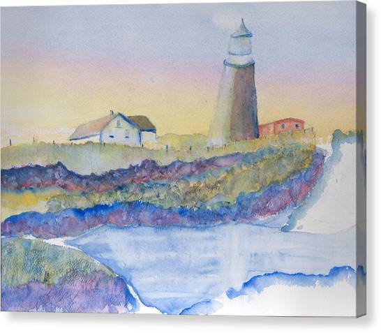 Soft Blue And A Light House Canvas Print by MaryBeth Minton