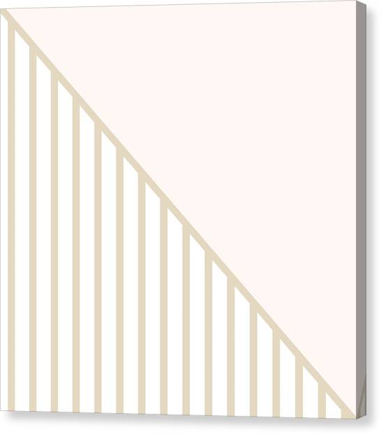 Lines Canvas Print - Soft Blush And Champagne Stripe Triangles by Linda Woods