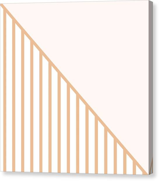 Art Nouveau Canvas Print - Soft Blush And Coral Stripe Triangles by Linda Woods