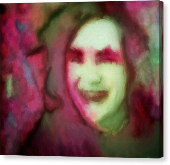 Soft Female Portrait Painting Of A Girl Eve In Pink Green Red And Brown From Girl In Final Fantasy Four Video Games Concept Art Canvas Print by MendyZ