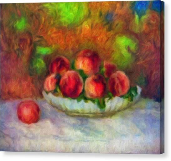 Decor Canvas Print - Soft Peaches Still Life by Georgiana Romanovna
