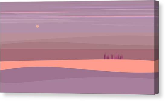 Rolling Hills Canvas Print - Soft Purple Landscape by Val Arie