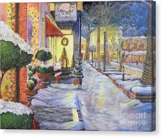 Soft Snowfall In Dahlonega Georgia An Old Fashioned Christmas Canvas Print