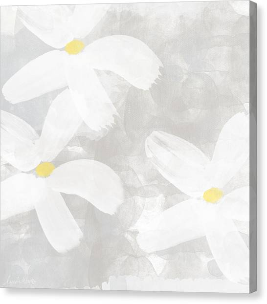 Gray Canvas Print - Soft White Flowers by Linda Woods