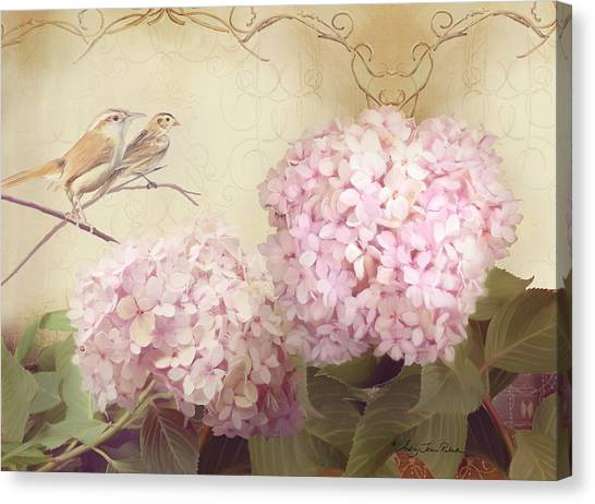 Wrens Canvas Print - Softly Summer - Carolina Wrens W Blush Pink Hydrangeas by Audrey Jeanne Roberts