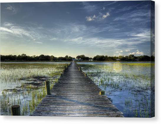 Marsh Grass Canvas Print - Sol Legare Dock Charleston Sc by Dustin K Ryan