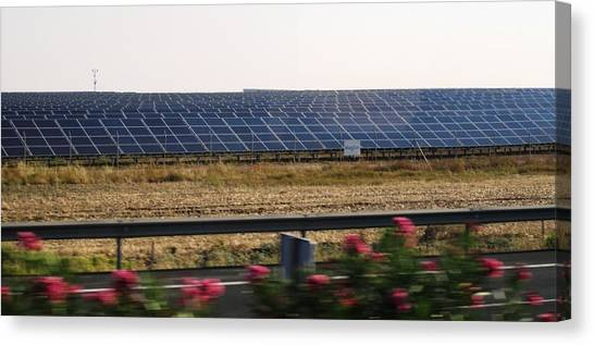 Solar Farms Canvas Print - Solar Panel Farm On The Way To Cordoba Spain by John Shiron