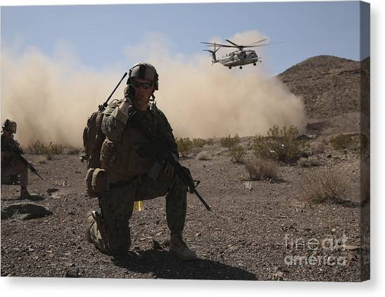 Green Berets Canvas Print - Solders Are Inserted By A Ch-53 Super by Stocktrek Images