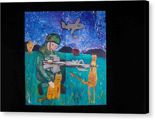 Soldier And Two Cats Canvas Print