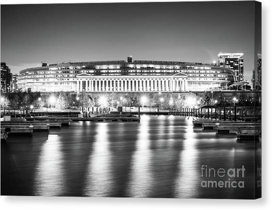 Soldier Field Canvas Print - Soldier Field Black And White Photo by Paul Velgos