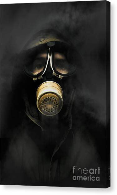 Breathe Canvas Print - Soldier In Gas Mask by Jorgo Photography - Wall Art Gallery
